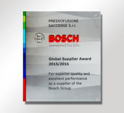 2015/2016 Bosch Supplir Award for the category die-casting.